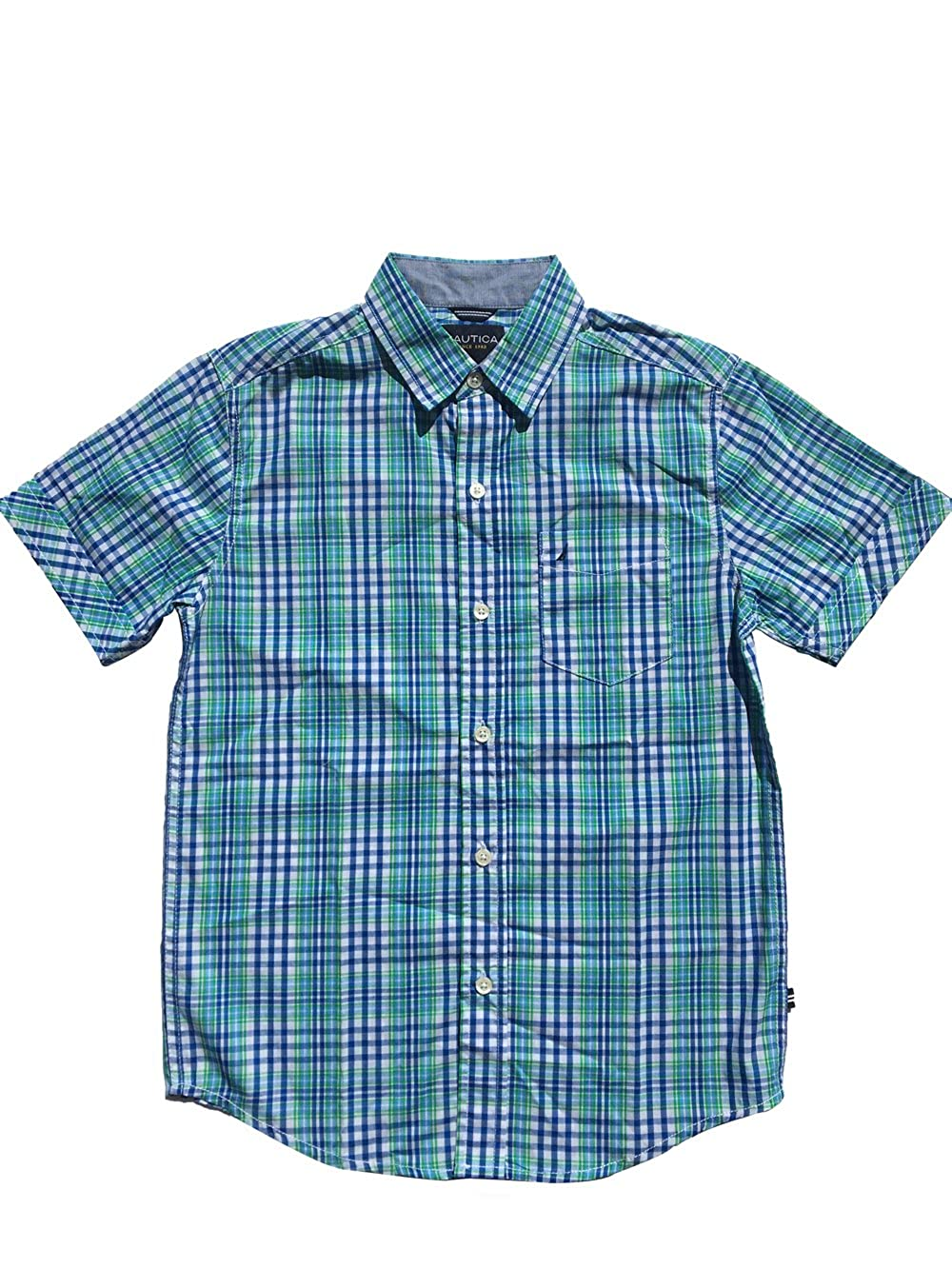 Azure Blue Nautica Big Boys Button Up Plaid Short Sleeve Shirt