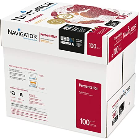 NAVIGATOR Presentation - Papel multifunción, 5 paquetes de 2500 hojas (A4, 100 g/m2), color blanco: Amazon.es: Oficina y papelería