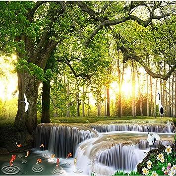 Xbwy Custom 3D Flowing Water Background Wallpaper Green Tree