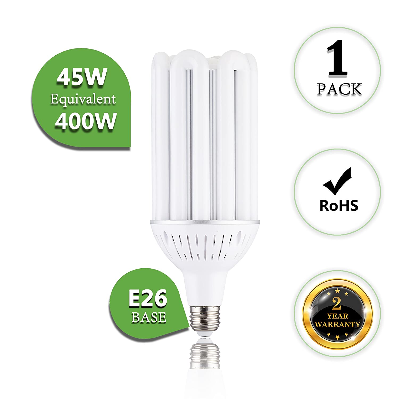 E26 ,4000K Natural White 360/° Flood Light for Street Lamp Post Lighting Garage Factory Warehouse High Bay Barn Porch Large Medium ScreW Base 400Watt Replacement 45W LED Corn Bulb 1-Pack