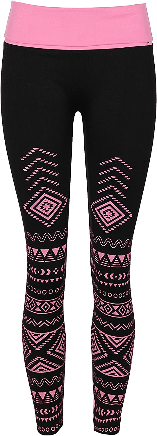 Crush Womens Aztec Printed High Waist Yoga Athletic Leggings Large X Large Pink