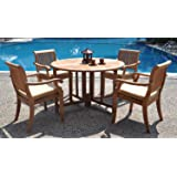 """New 5 Pc Luxurious Grade-A Teak Dining Set: 48"""" Round Butterfly Table and 4 Arbor Arm Stacking Chairs"""