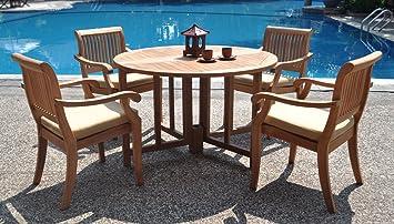 Amazon.com: New 5 Pc Luxurious Grade-A Teak Dining Set: 48\