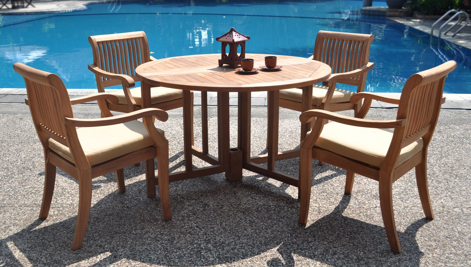 "WholesaleTeak New 5 Pc Luxurious Grade-A Teak Dining Set - 48"" Round Butterfly Table and 4 Stacking Arbor Arm Chairs #WHDSAB4 - The chairs are stackable for easy storage. Round table folds in butterfly fashion. Also has a hole for an umbrella. ADD SUNBRELLA FABRIC CUSHIONS BY SEARCHING ASIN ""B01I4CC166"" or ""Wholesaleteak Dining Cushion"" ON AMAZON, CUSTOM MADE FOR THESE STYLE CHAIRS - patio-furniture, dining-sets-patio-funiture, patio - 81rP%2BEzCYOL -"