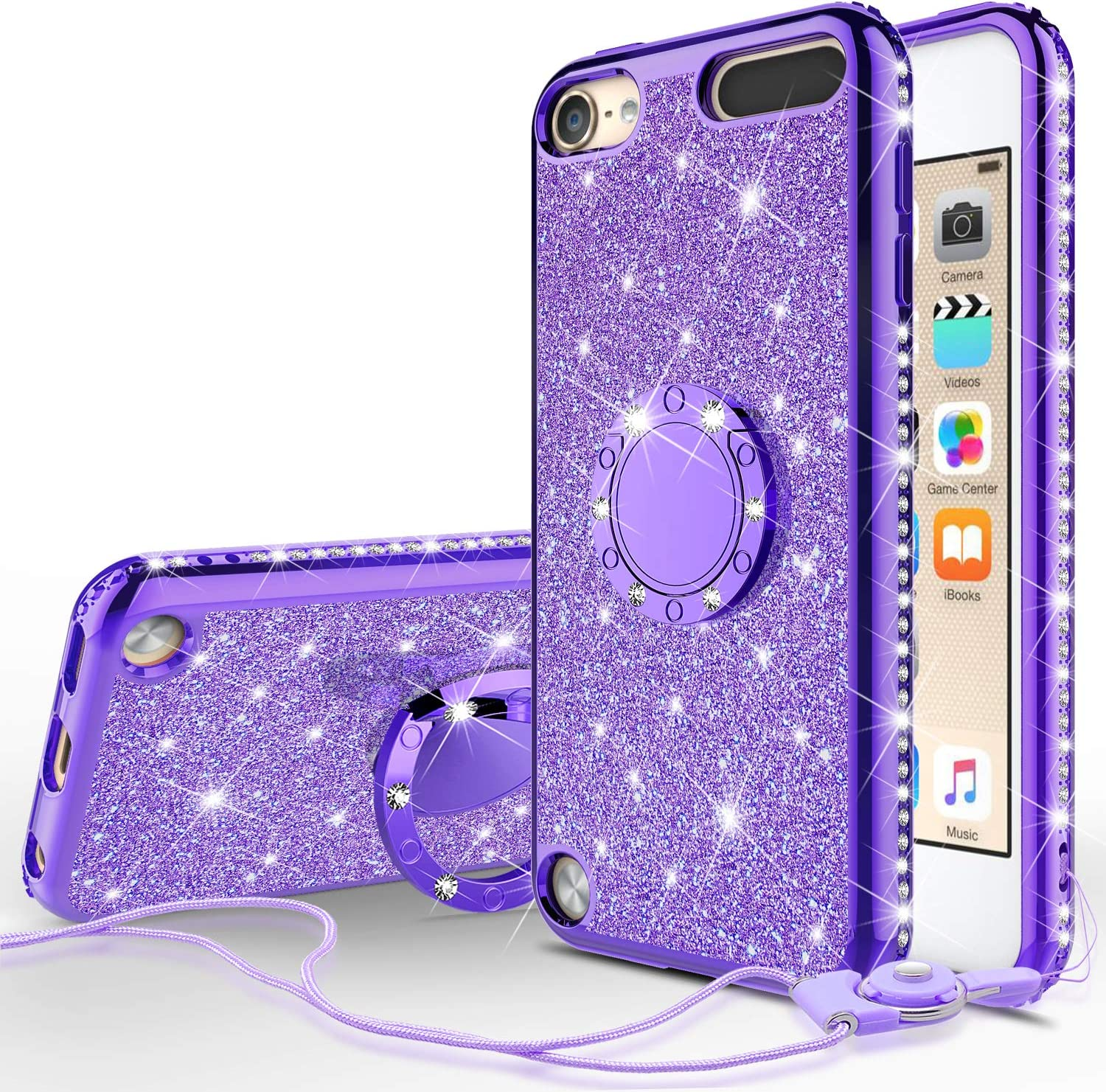 Galaxy Wireless Cases for New iPod Touch 7 Case, iPod 6/5 Case Glitter Bling Sparkle Ring Stand Case Compatible for Apple iPod Touch 5/6th/7th/New iPod Touch - Purple