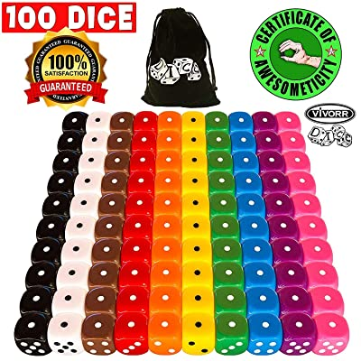 Vivorr Premium Dice Set of 100 Pieces, 10 Colors, 10 of Each Color, 16mm, D6, c/w Velvet Carry Bag / Pouch, Perfect for: Tenzi, Farkle, Yahtzee, Bunco, Board Games, Casino or Teaching Math. Ideal Gift: Toys & Games