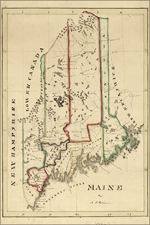 Amazon.com : 20x30 Poster; Map Of Maine 1820 : Everything Else