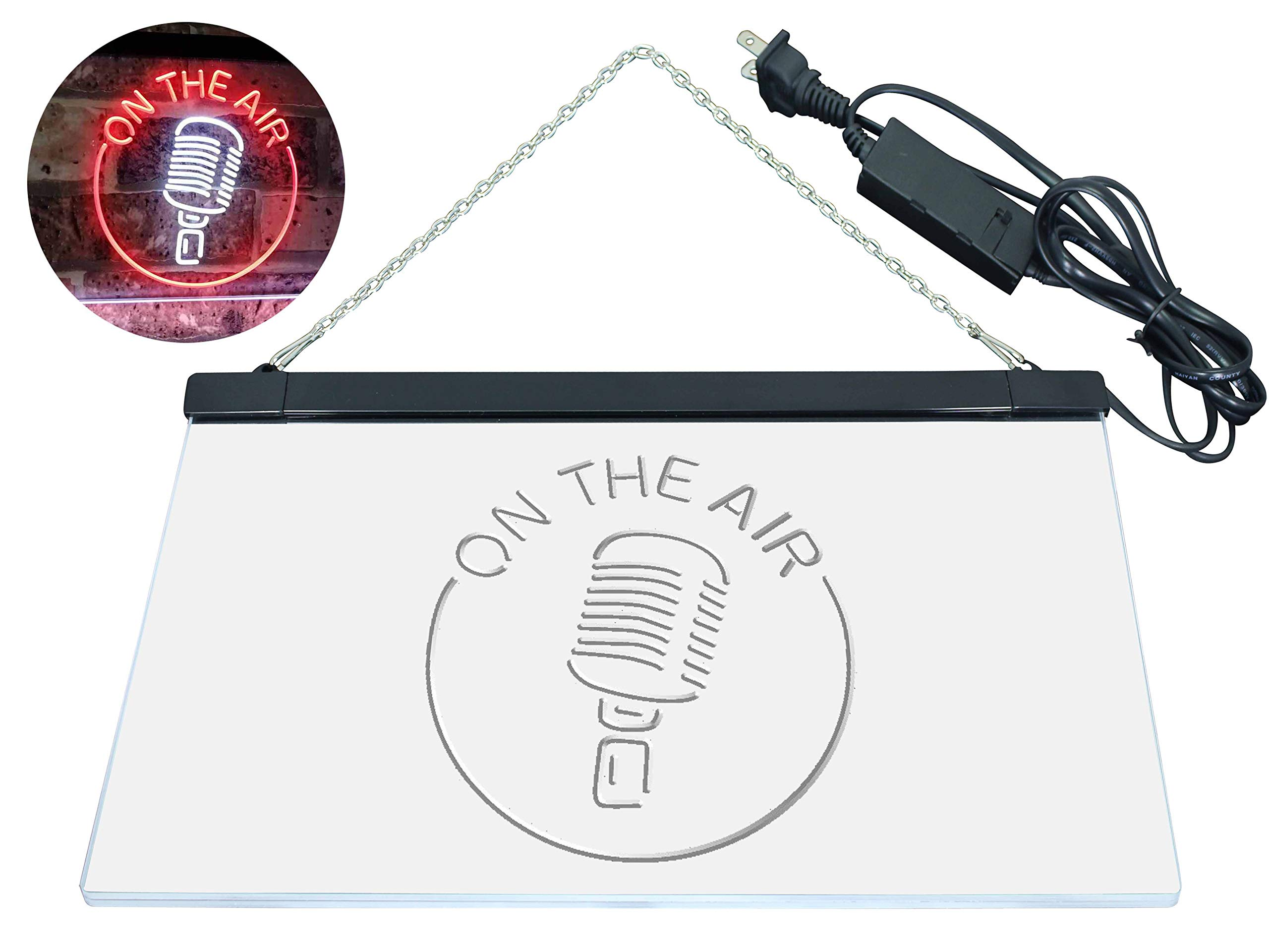 AdvpPro 2C On The Air Microphone Studio Recording Signal Dual Color LED Neon Sign White & Red 12'' x 8.5'' st6s32-m2028-wr