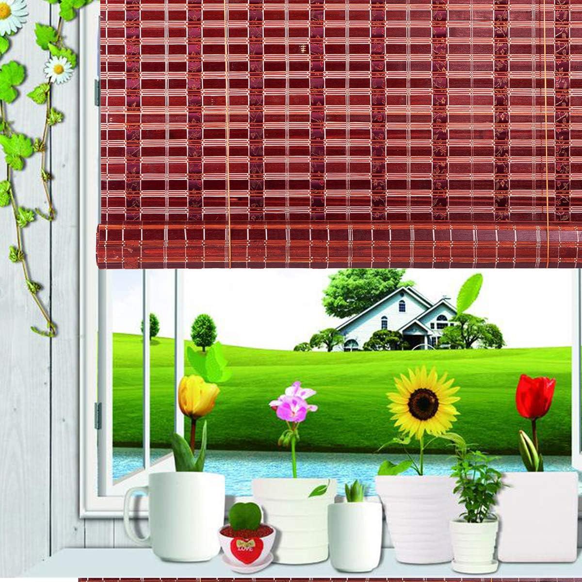 Asian Home Natural Bamboo Roll Up Window Blind Sun Shade Burgundy WB-SUN319 W72 X H72