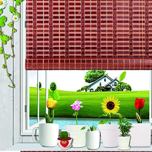 ASIAN HOME Natural Bamboo Roll Up Window Blind Sun Shade Burgundy WB-SUN319 W72 X H72