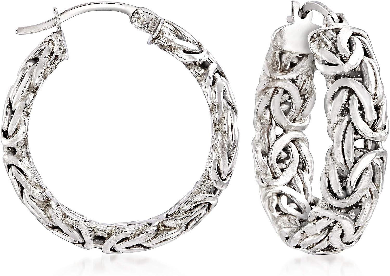 Ross-Simons Sterling Silver Small Byzantine Hoop Earrings For Women 925