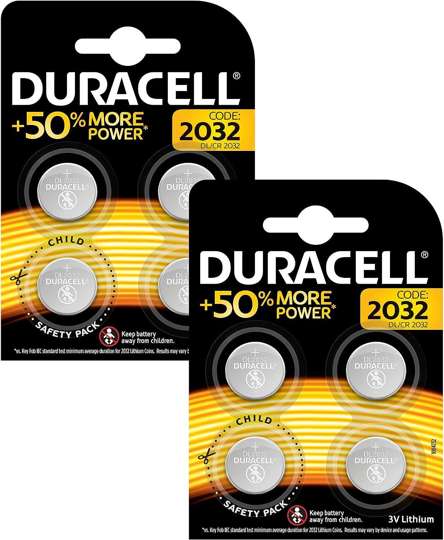 Paquete de Pilas cr 2032 3v Duracel - Pila tipo botón de litio especial para dispositivos electrónicos, paquete de 8. Apertura simplificada
