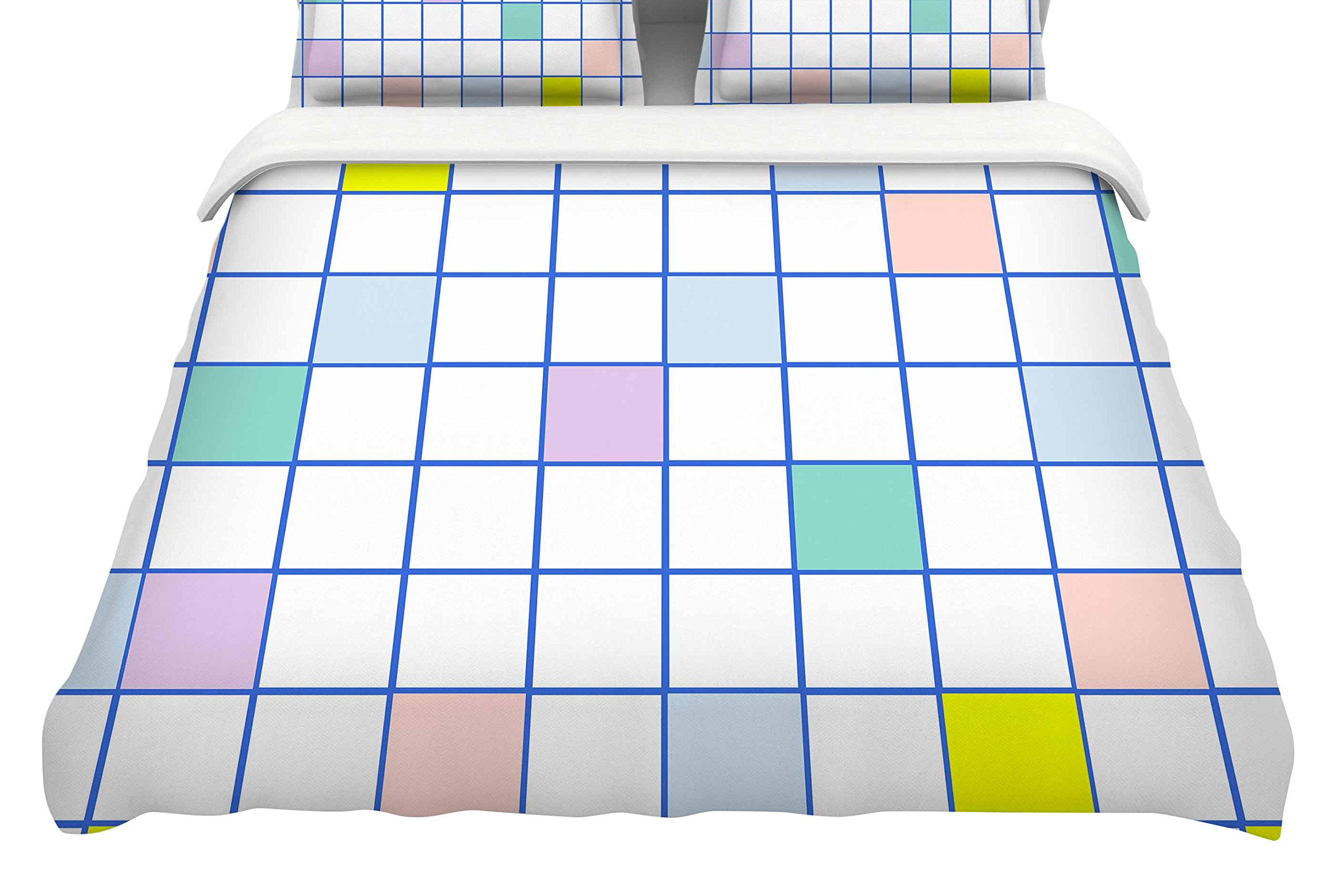 KESS InHouse Vasare Nar ''Pastel Windowpane Grid''Featherweight Queen Duvet Cover, 88 x 88''