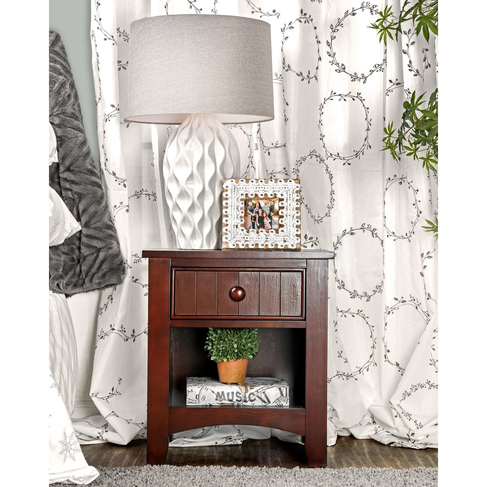 Furniture of America Cottage Style 1 Drawer Nightstand by Furniture of America (Image #5)