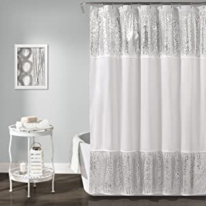 "Lush Decor Décor Shimmer Sequins Shower Curtain, 70"" x 72"", Silver"