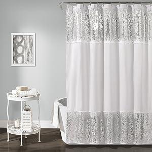 "Lush Decor Décor Shimmer Sequins Shower Curtain, 70"" x 72"", Silver"