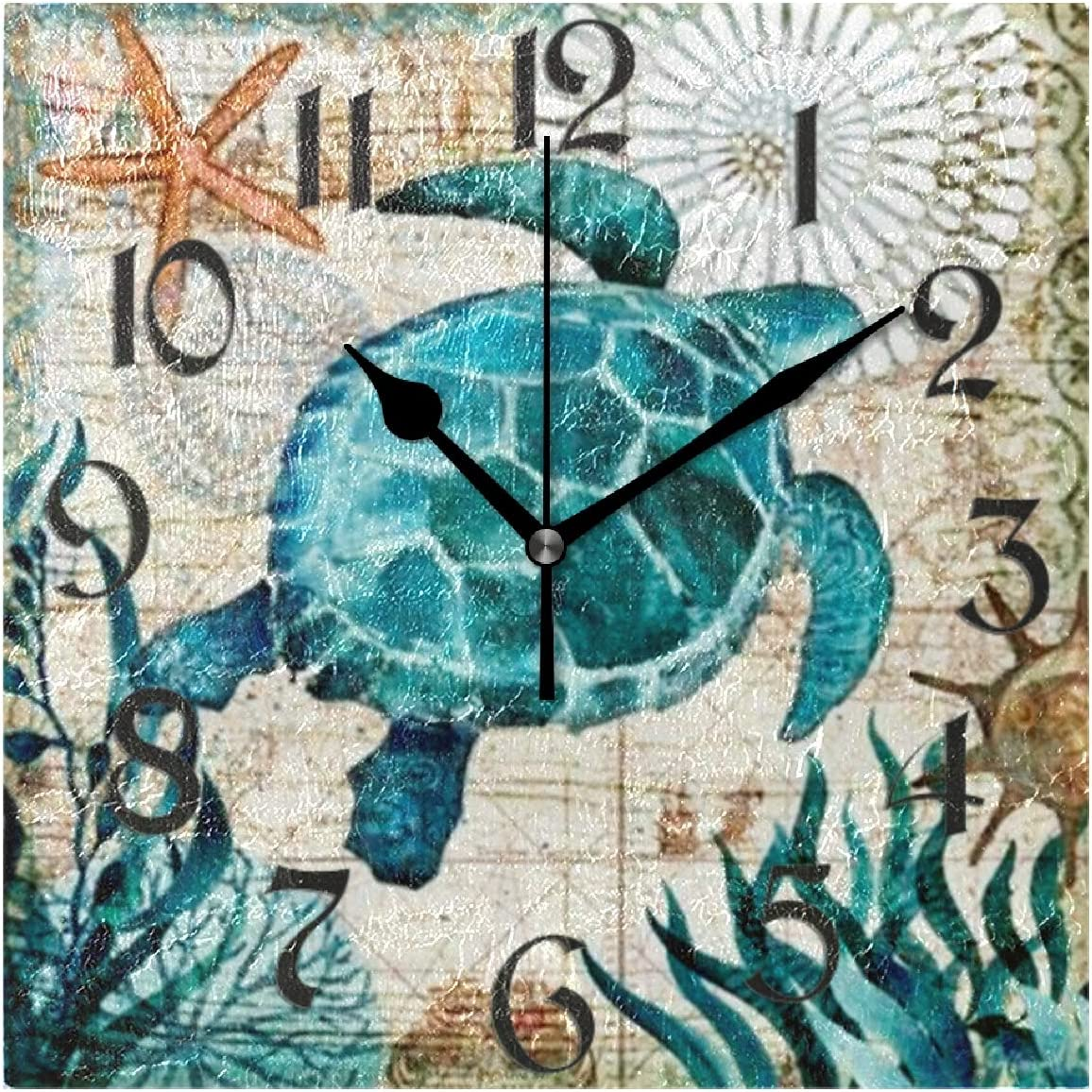 Naanle Vintage Turtle Square Wall Clock Sea Turtle Silent Non Ticking Wall Clocks Battery Operated for Office Home School Decor