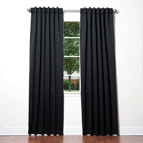 Best Home Fashion Thermal Insulated Blackout Curtains   Back Tab/ Rod  Pocket   Black