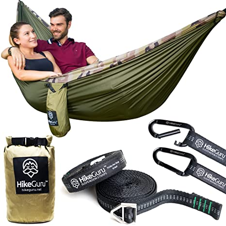 double hammock with tree straps and carabiners   by hikeguru w  real tree straps  amazon    double hammock with tree straps and carabiners   by      rh   amazon