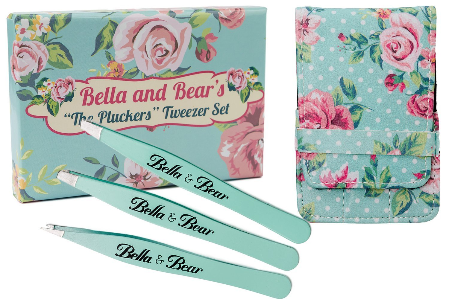 Eyebrow Tweezers Set By Bella and Bear. Stainless Steel 3 Piece Tweezers Set With Case, Includes Slant, Pointed and Flat Tip Tweezers TW1301
