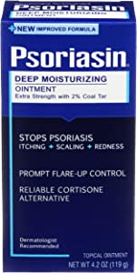 Psoriasin Deep Moisturizing Ointment - 2% Coal Tar - Stops Psoriasis Itching, Scaling, Redness - 4.2 oz