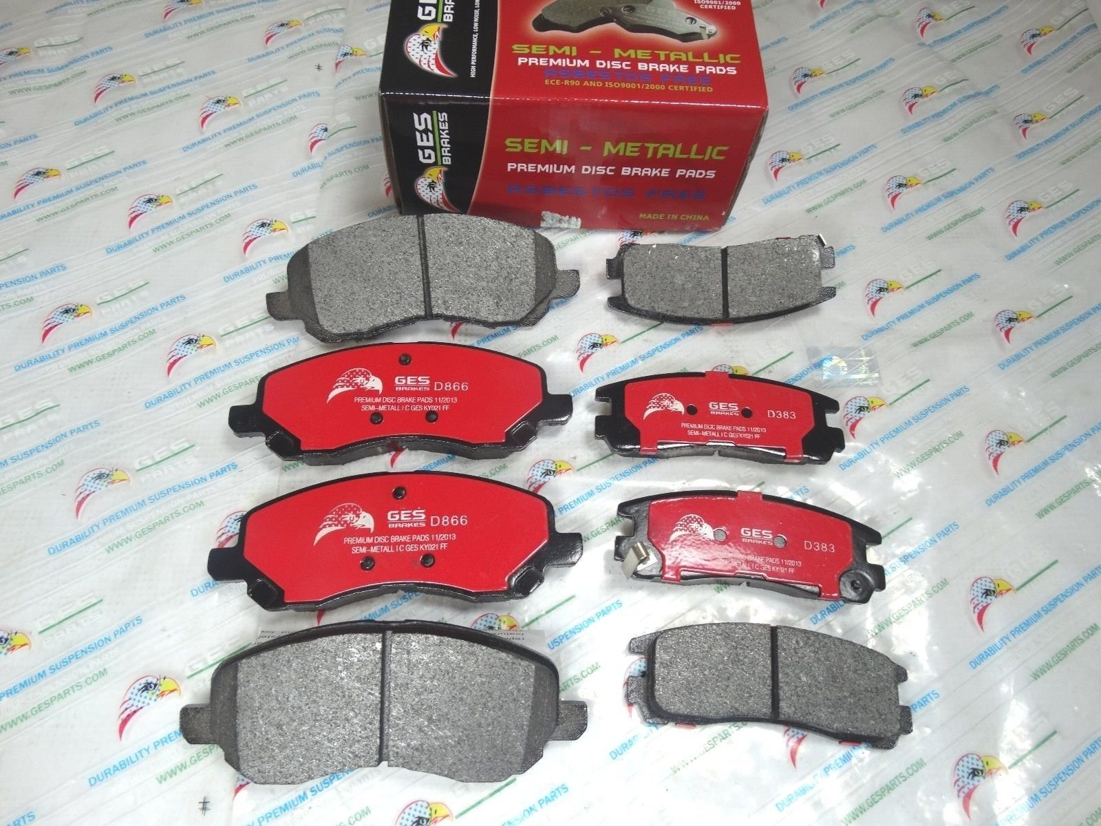 NEW 2 Sets Front & Rear Brake Pads Mitsubishi Eclipse Galant D866 & D383 by GES PARTS (Image #3)
