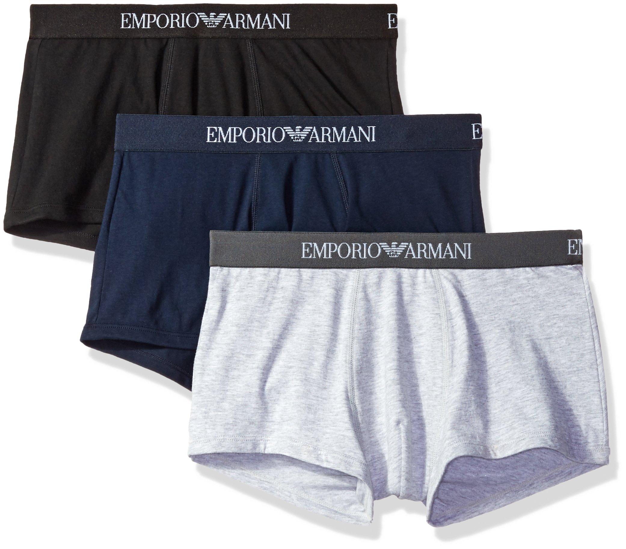 Emporio Armani Men's 3-Pack Cotton Trunks, Grey/Navy/Black, Medium