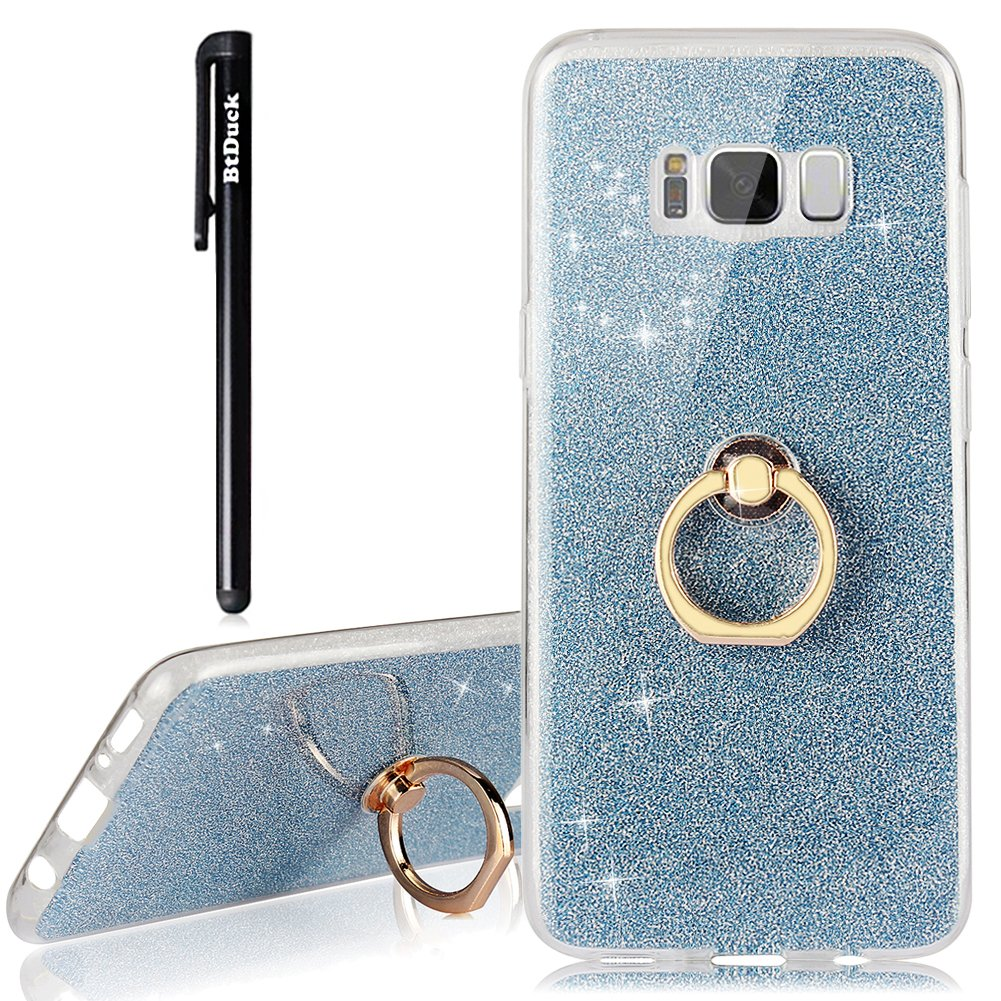 BtDuck Samsung Galaxy S8 Plus Leather Wallet Case Painted Magnetic Soft Leather Flip Folio Shockproof Stand Flip Phone Protector Pink Blue Cute Butterfly Cover Black Butterfly