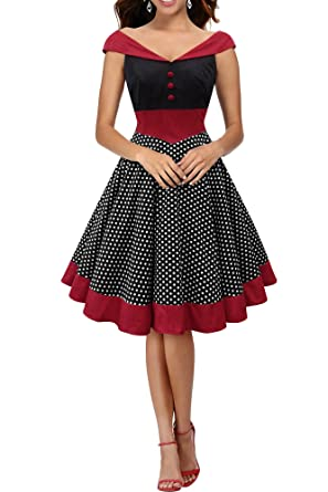 BlackButterfly Sylvia Polka Dot Vintage Rockabilly Swing Pin Up Dress (Black, ...