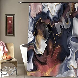 Gibelle Abstract Colorful Marble Shower Curtain, Navy Blue and Brown Marble Glitter Ink Fluid Artwork, Modern Luxury Decorative Fabric Bathroom Decor, Barn Red, Silver Pink, White, 72