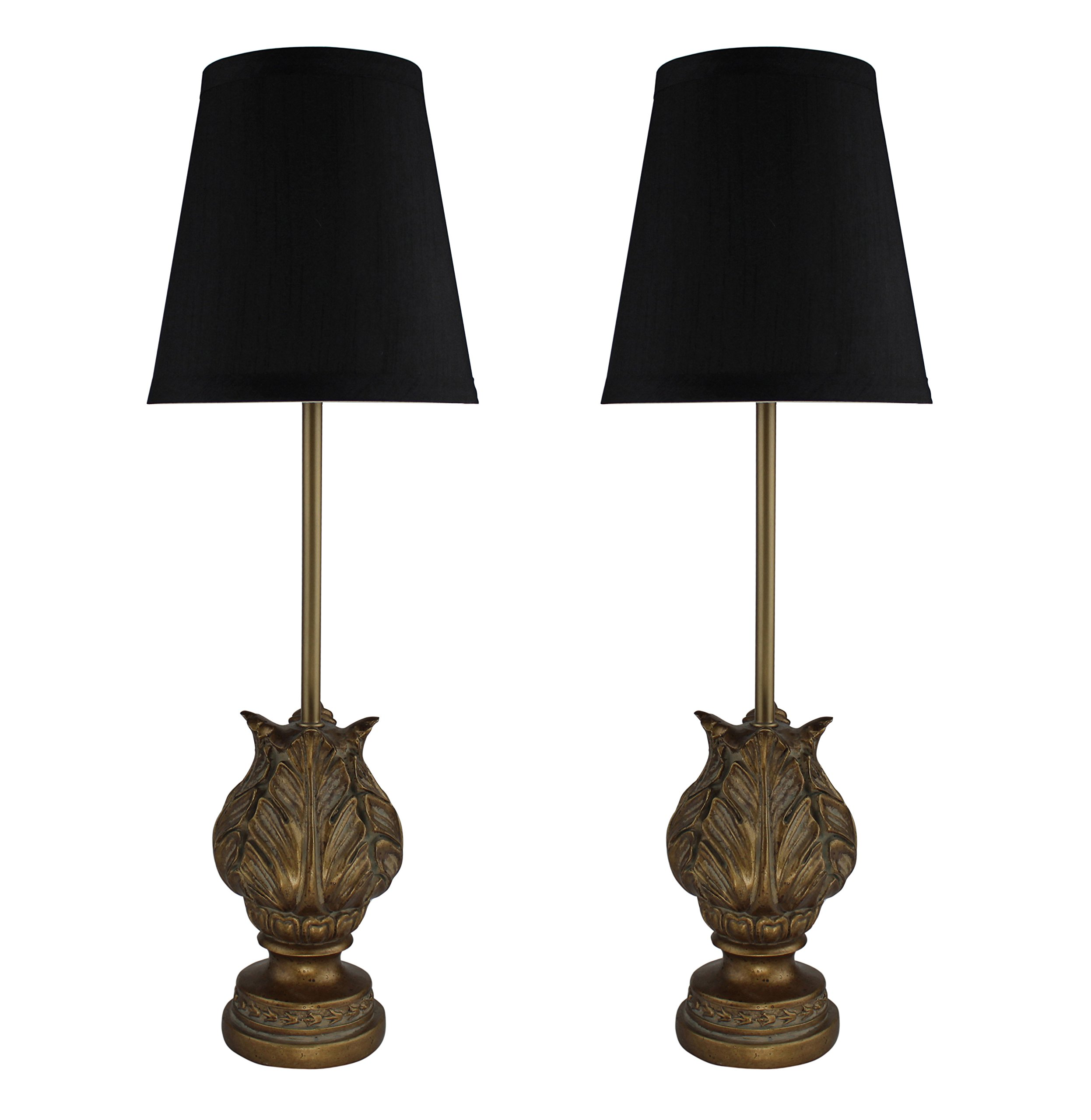 Urbanest Set of 2 Charlotte Mini Buffet Lamps in Paris Gold with Black Shades