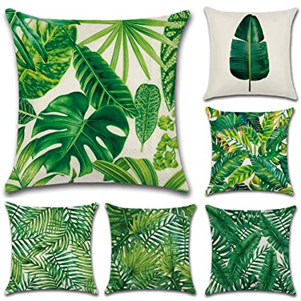 HuifengS Fundas de cojín de lino, cuadradas, funda de almohada tropical, lluvia, bosque, planta, botella decorativa para sofás, camas, sillas, fundas ...