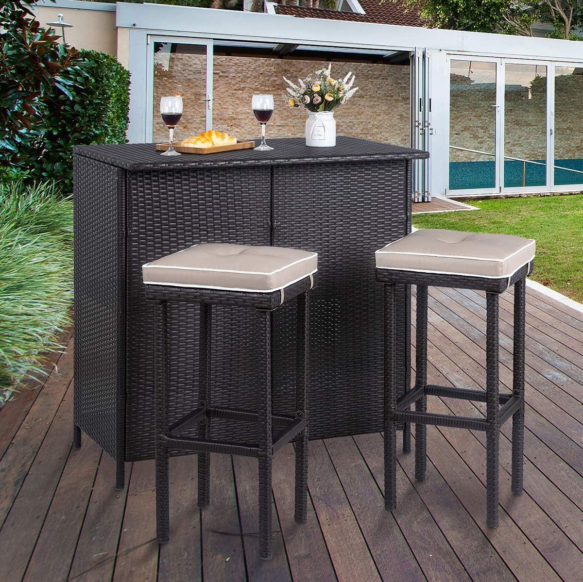 Goujxcy Outdoor Patio Wicker Bar Counter Table with 2 Shelves and 1 Rails Garden Poolside Rattan Bar Counter Table Patio Bar Furniture for Backyard Patio, Lawn & Garden Tables