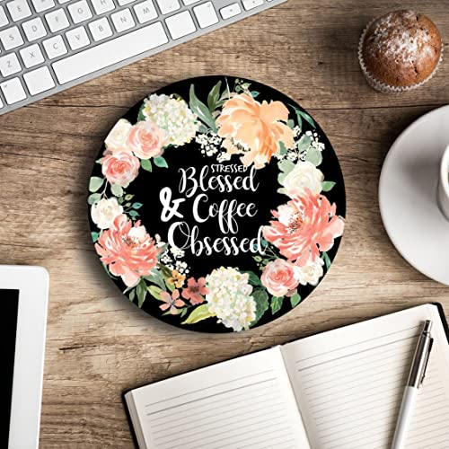 Stressed Blessed U0026 Coffee Obsessed   Christian Quote   Inspirational Office  Decor Mouse Pad With Design