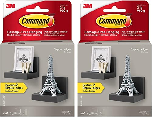 Command Display Ledges, Slate, 2-Ledges, 8-Medium Foam Strips Pack of 2