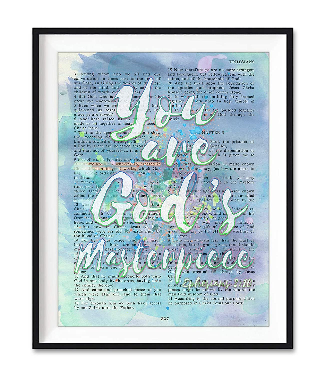 You Are God's Masterpiece, Ephesians 2:10, Vintage Bible Verse Wall Art Print, Unframed, Watercolor Christian Page Wall Art Home Decor Poster, Christmas Gift, 8x10 Inches