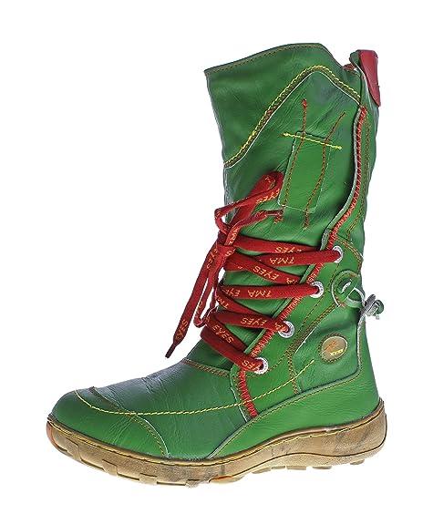 TMA Leder Damen Winter Stiefel Schuhe gefüttert Schwarz Grün Gelb Bunte Ziernähte Winterstiefel