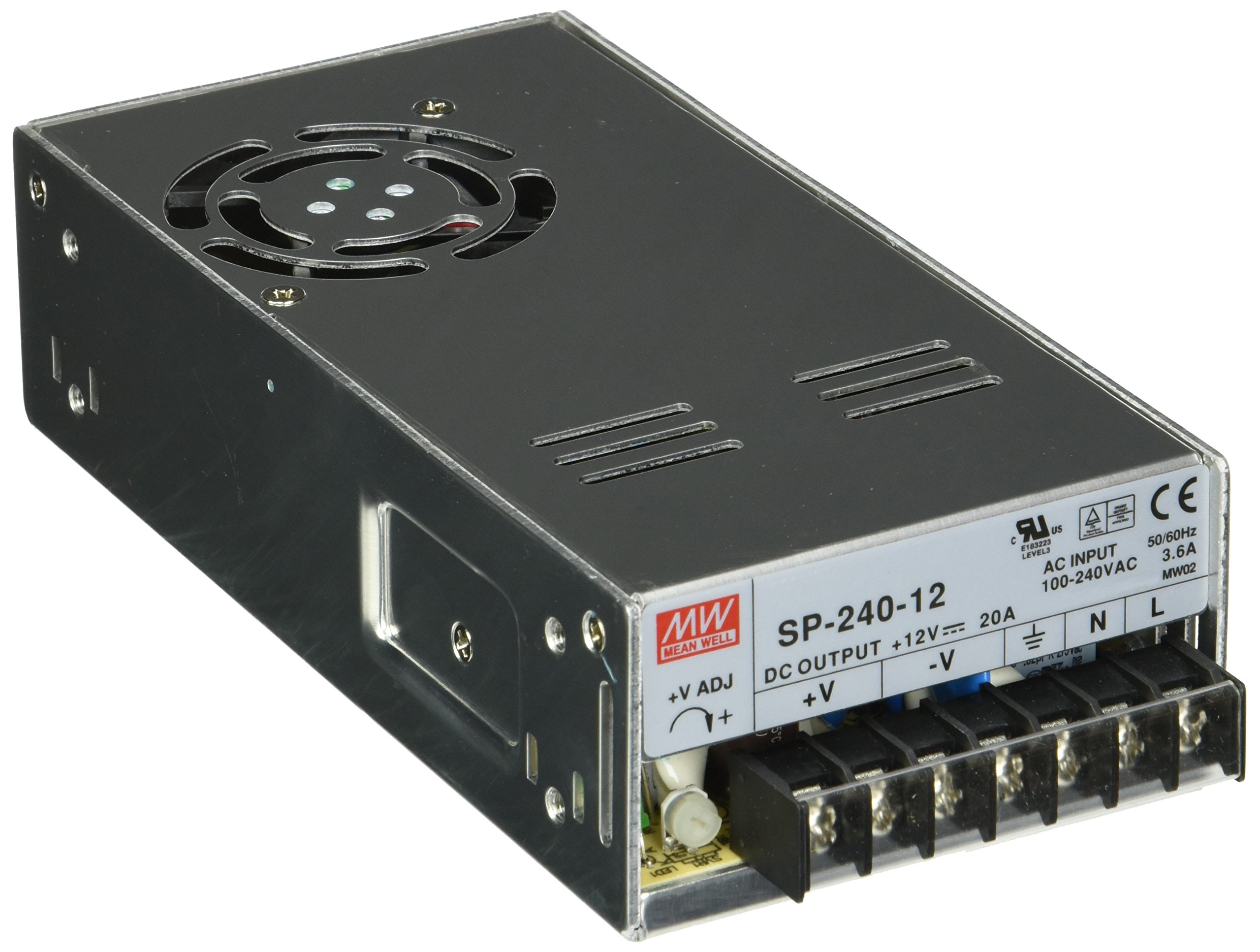 MEAN WELL SP-240-12 AC to DC Power Supply, Single Output, 12V, 20 Amp, 240W, 1.5''