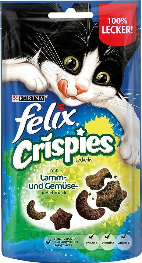 Aperitivo para Gatos Felix Crispies con proteínas, vitaminas y ácidos grasos Omega 6, 8 Unidades (8 x 45 g)