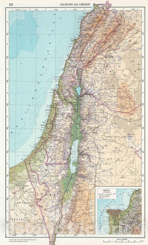 Amazon Historic Map 1967 151 Palestine And Lebanon