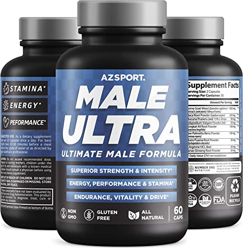 AZS Premium Male Ultra, 9 Potent Herbs Ultimate Male Formula to Increase Size, Strength, Energy, Drive. All Natural Performance Supplement, 60 Veg Caps