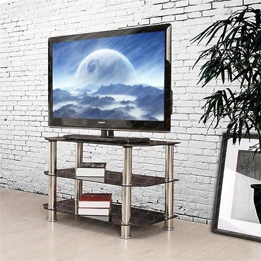 Ospi 3 pisos negro de cristal templado mesa TV Stands para 20 ~ 42 ...