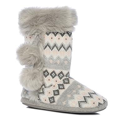 Lounge & Sleep Pink Fair Isle Knitted Slipper Boots: Amazon.co.uk ...