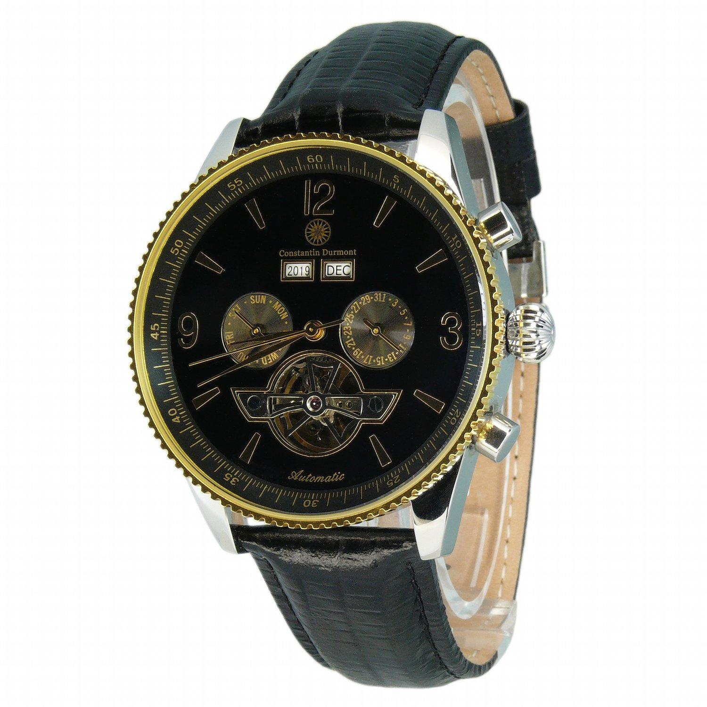 Constantin Durmont CD-TRAV-AT-LT-STGD-BK - Reloj analógico automático para Hombre con Correa de Piel, Color Negro