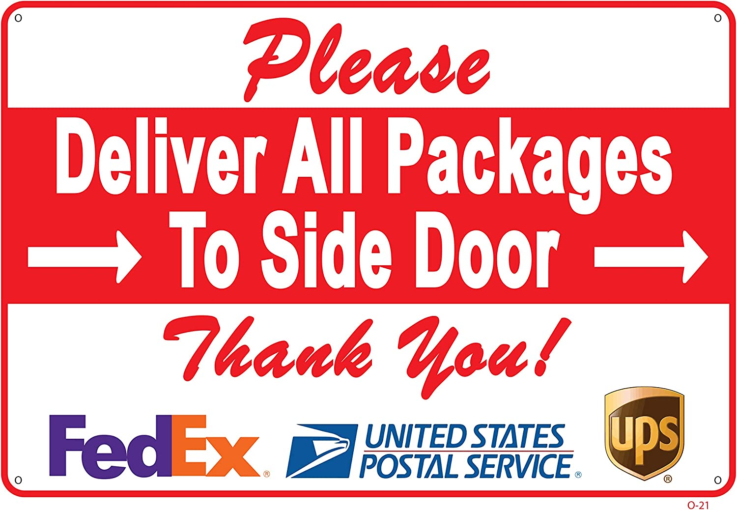 """Deliver All Packages to Side Door Sign – A Pleasant Reminder to Delivery People, an Vivid Design Plus UV Protection to Last Longer, Rust-Free Plastic at 8""""x12"""" 0.06"""", Perfect Gift"""
