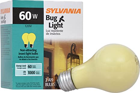Amazon.com: Sylvania A19 Incandescent Bulb, Medium Base, Yellow Bug Light, 60W, 2850K, 2 Pack: Home & Kitchen