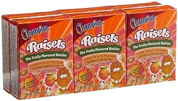 Champion Raisels Sour Peach Raisins 125 Ounces 6 Count Mini
