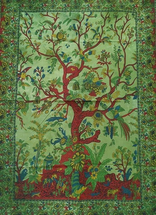 Indian Mandala Cotton Wall Hanging Green Tree of Life Yoga Mat Poster Tapestries
