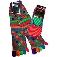 Women's Knee High Toe Socks, Gray w/Multi-colored Polka Dots; Vibrant Slipper Socks Shoe Liners; 2-pc