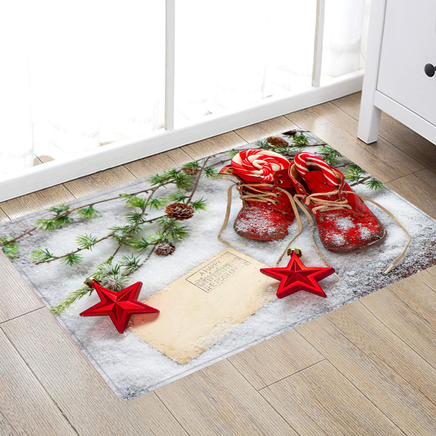 Snow Red Christmas Shoes Print Memory Foam Comfort mat Non Slip Super Soft Coral Fleece rug Doormats Carpet for Kitchen Dining and Living Room 24 x 16 inches